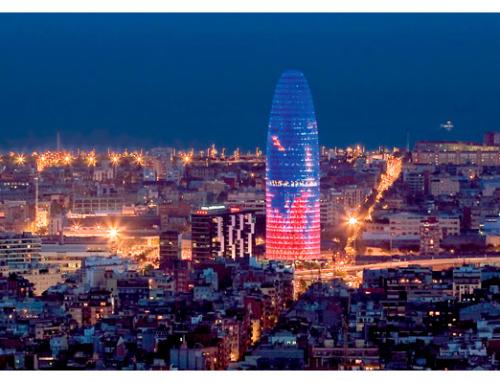 La Torre Glories se ilumina por la Agencia Europea del Medicamento